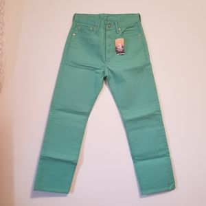 NWT Levi's 501 Straight Green raw jeans, 30X30